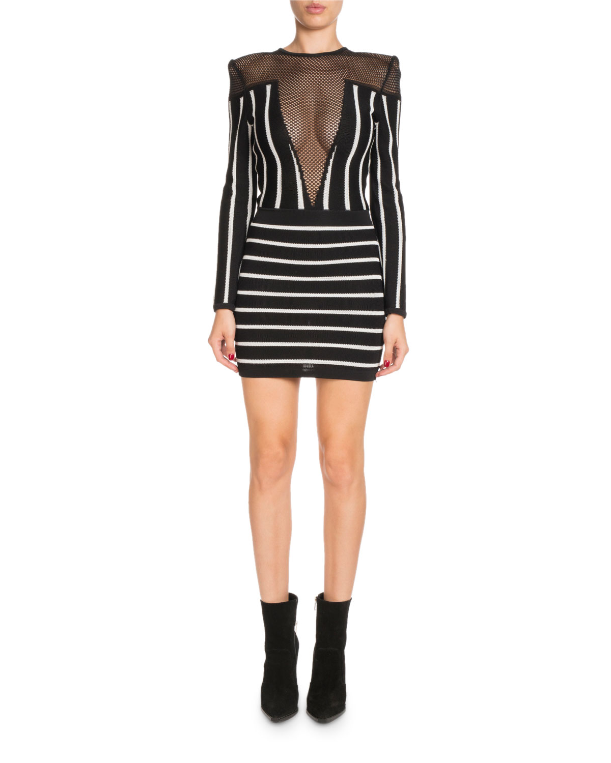 ce7518a9108 Balmain Long-Sleeve Striped Short Cocktail Dress with Mesh Inset ...