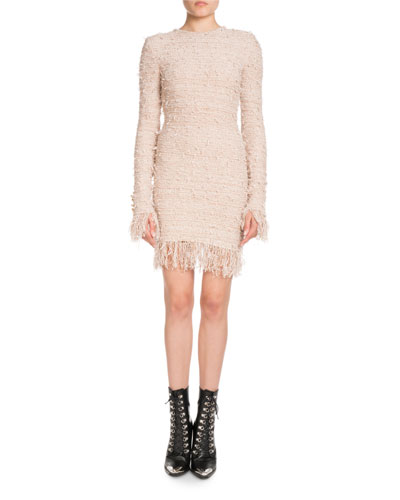 Long-Sleeve Fitted Knit Cocktail Dress with Fringe