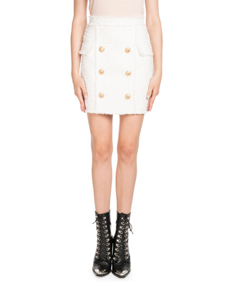 High Waisted Fringed Tweed Mini Skirt in White