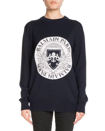 Crewneck Long-Sleeve Coin Logo Jacquard Sweater
