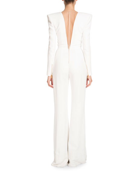 Deep-V Long-Sleeve Six-Button Flared-Leg Crepe Jumpsuit
