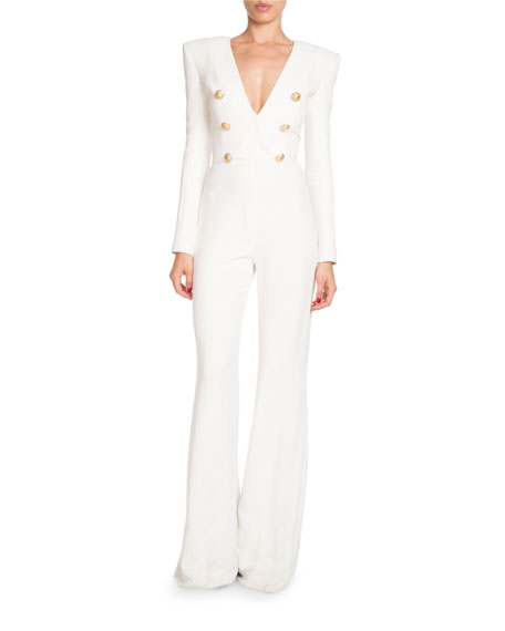 Balmain Deep-V Long-Sleeve Six-Button Flared-Leg Crepe Jumpsuit