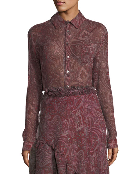 Button-Front Long-Sleeve Silk Paisley-Print Blouse