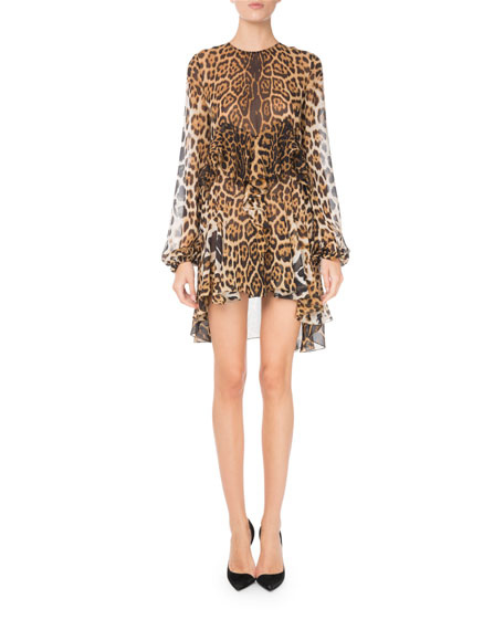 Tiered Leopard-Print Silk Dress