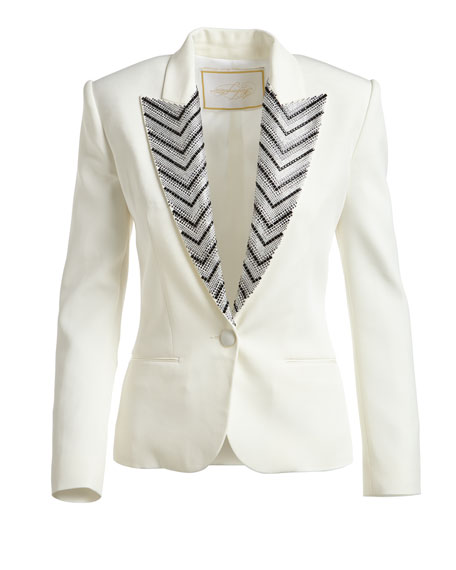 Chevron-Embroidered Cady Jacket