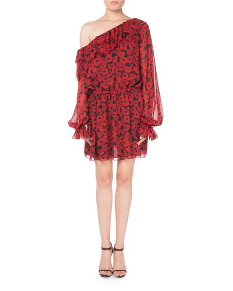 One-Shoulder Floral-Print Silk Georgette Dress
