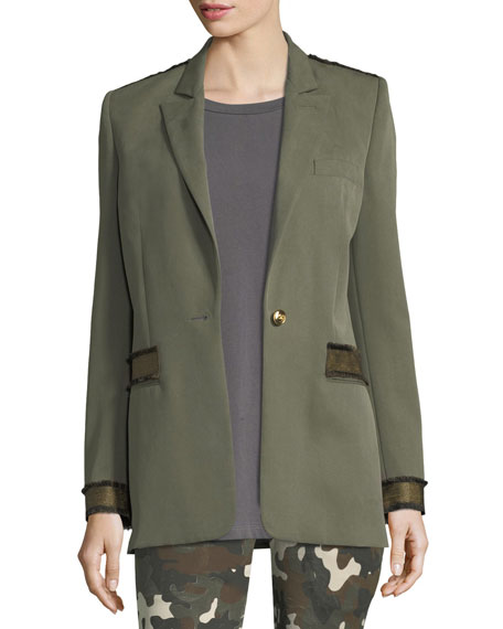 Redemption Peak-Lapel One-Button Blazer with Military Details and