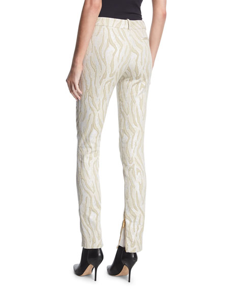 Zebra Jacquard Zip-Cuff Pants