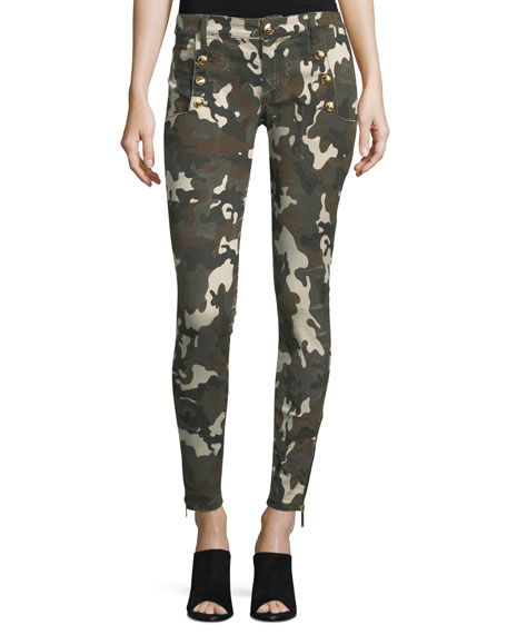 Redemption Camo-Print Denim Pants with Military Buttons