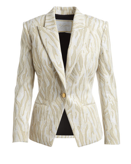 Zebra Jacquard One-Button Jacket