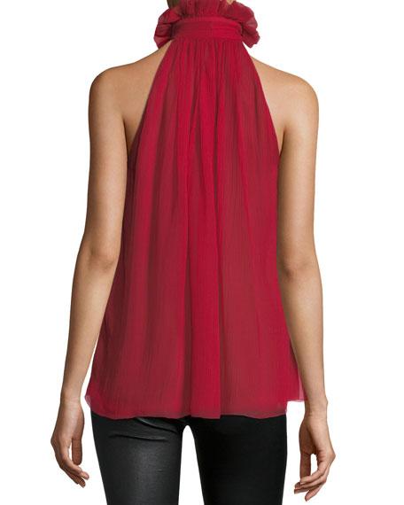 Sleeveless Tie-Neck Victorian Silk Blouse
