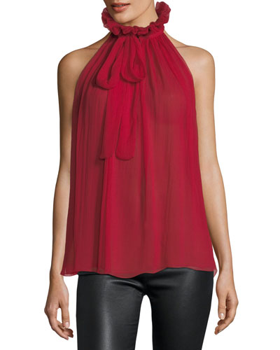 Sleeveless Tie-Neck Victorian Silk Blouse
