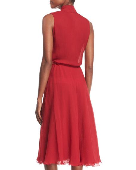 Tie-Neck Sleeveless Silk Georgette Midi Dress