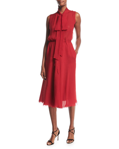 Tie-Neck Sleeveless Silk Georgette Midi Dress