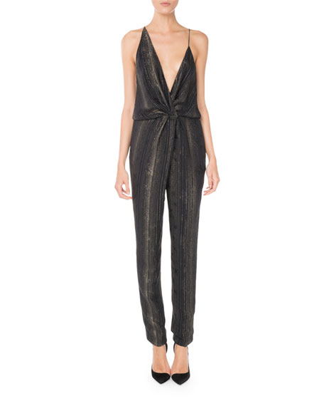 Sleeveless Plunging Twist-Front Straight-Leg Metallic Silk Jumpsuit