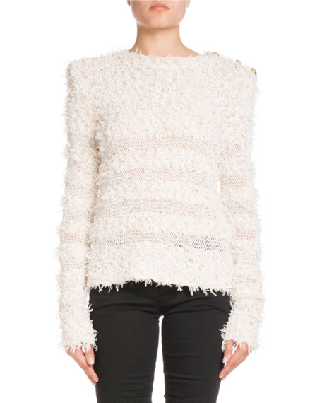 Balmain Long-Sleeve Textured-Knit Sweater with Golden Buttons