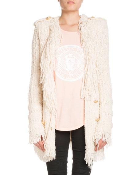 Oversized Fringe-Knit Six-Button Cardigan Jacket