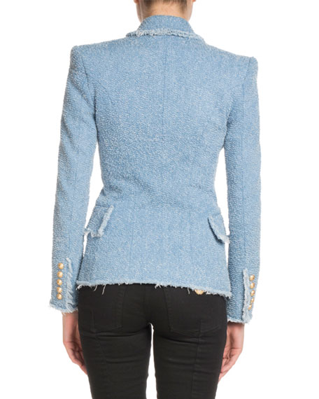 Textured Denim 6-Button Classic Blazer
