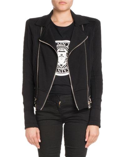Zip-Front Cotton Moto Jacket