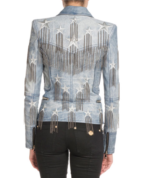 Double-Breasted Leather Jacket with Printed Stars and Chain Fringe