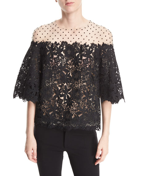 Floral-Guipure Dotted Illusion Tulle Elbow-Sleeve Cocktail Blouse