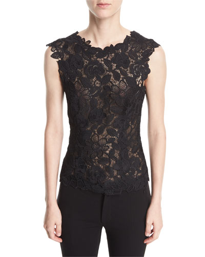 Sleeveless V-Back Floral Guipure Lace Fitted Blouse