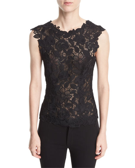 Monique Lhuillier Sleeveless V-Back Floral Guipure Lace Fitted