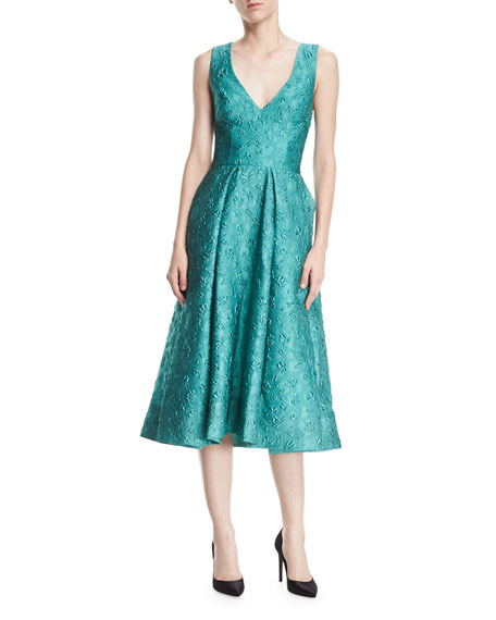 Monique Lhuillier Deep-V Floral-Jacquard Structured Midi Cocktail