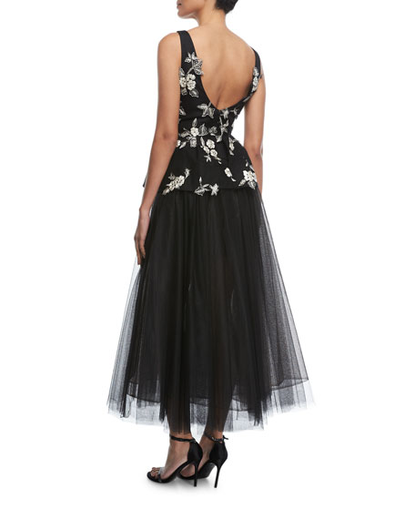 Sleeveless V-Neck Embroidered Peplum Gown with Tulle Skirt