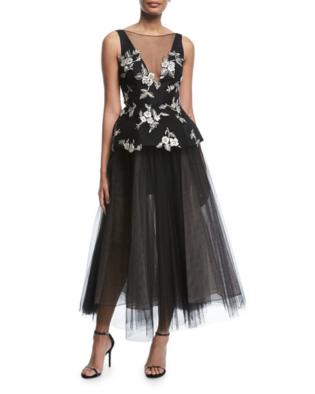 Monique Lhuillier Sleeveless V-Neck Embroidered Peplum Gown with