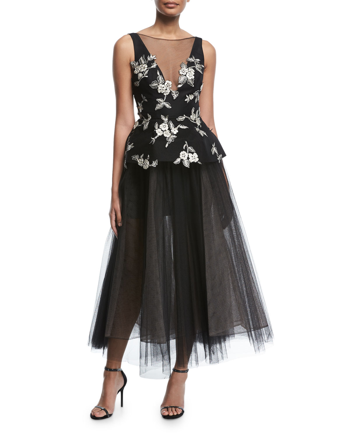 Monique Lhuillier Sleeveless V-Neck Embroidered Peplum Gown with ...