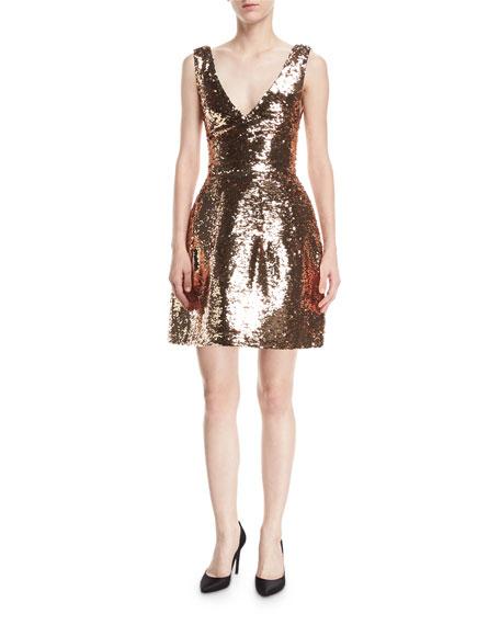 Monique Lhuillier Sequined V-Neck Cocktail Dress