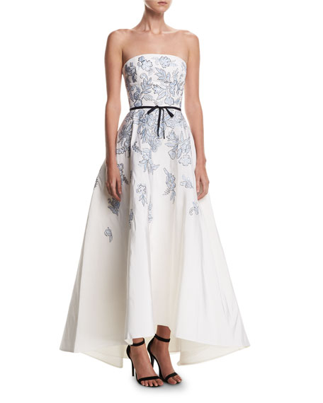 Monique Lhuillier Strapless Embroidered Belted High-Low Evening
