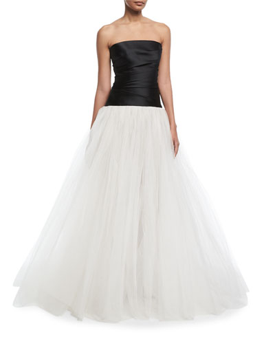 Stretch-Mikado Strapless Bodice Evening Gown with Tulle Skirt