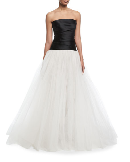 Monique Lhuillier Stretch-Mikado Strapless Bodice Evening Gown