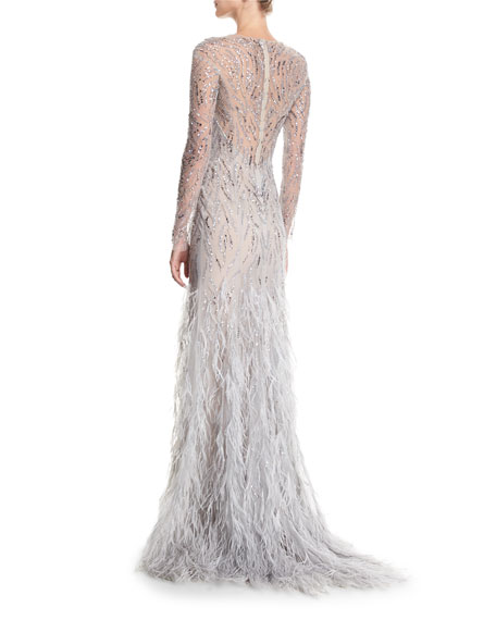 Embellished Long-Sleeve Illusion Evening Gown with Feather Skirt