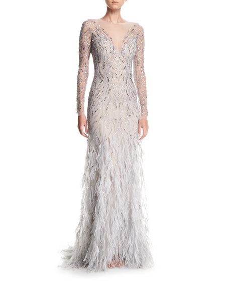 Monique Lhuillier Embellished Long-Sleeve Illusion Evening Gown