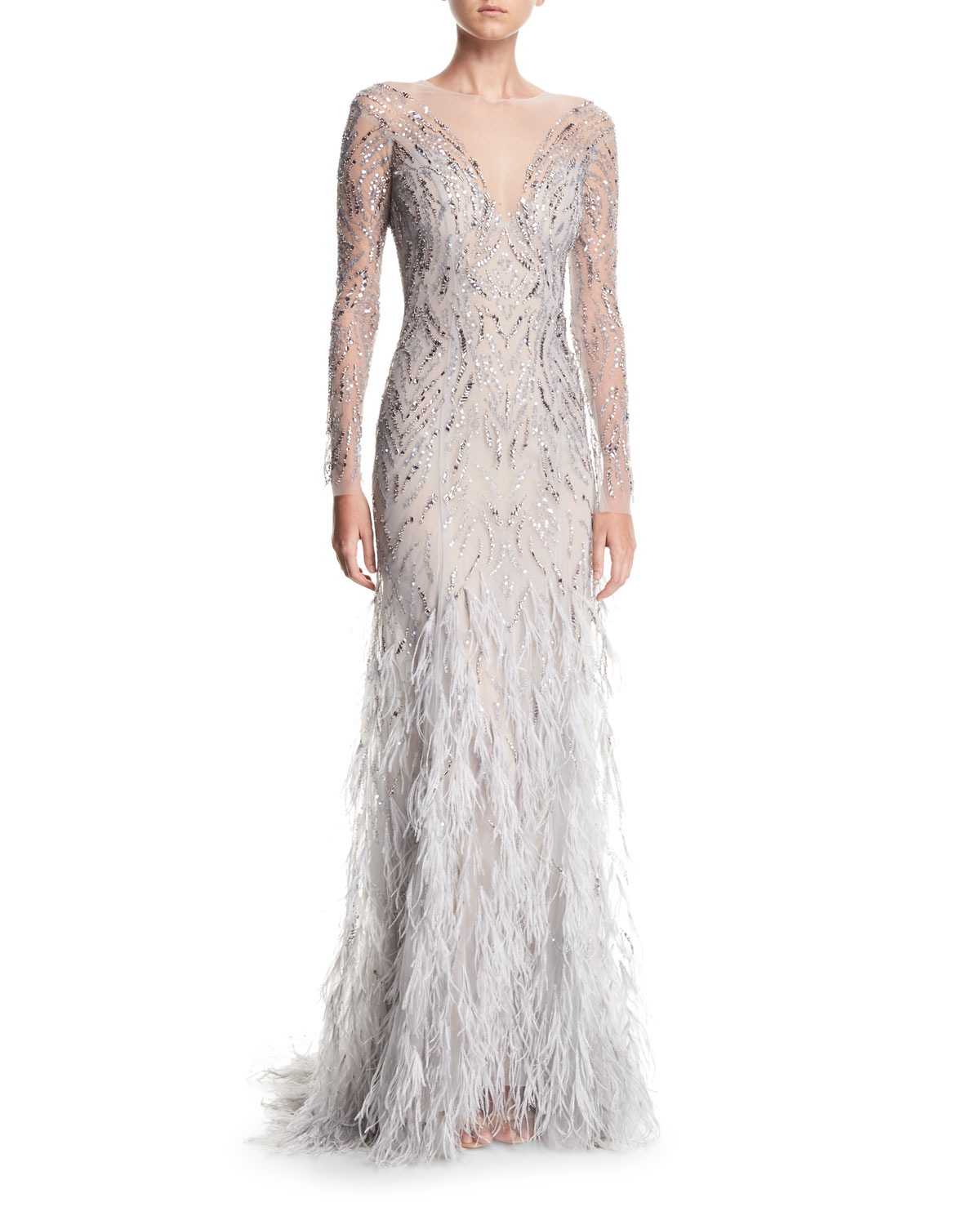 Monique Lhuillier Embellished Long Sleeve Illusion Evening Gown With