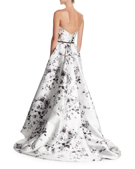 Strapless Belted Floral-Print High-Low Evening Ball Gown