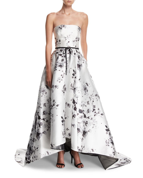 Monique Lhuillier Strapless Belted Floral-Print High-Low Evening