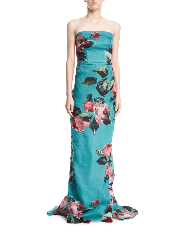 85ef4a19c2e Monique Lhuillier Strapless Rose-Print Organza Column Evening Gown ...