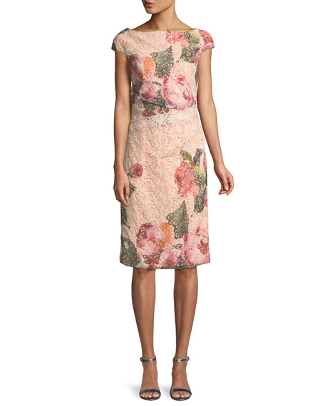 Cap-Sleeve Floral-Print Lace Cocktail Sheath Dress