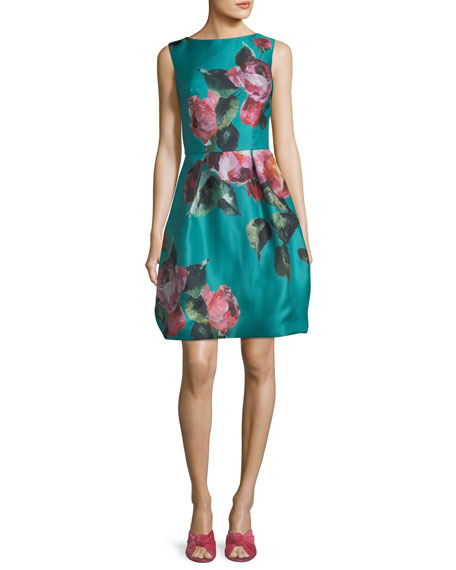 Monique Lhuillier High-Neck Sleeveless Floral-Print Cocktail Dress