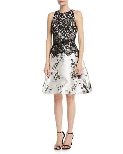 Sleeveless Lace-Top Fit-and-Flare Cocktail Dress