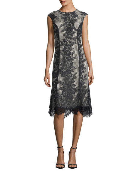 Monique Lhuillier Sleeveless Chantilly Lace Cocktail Dress
