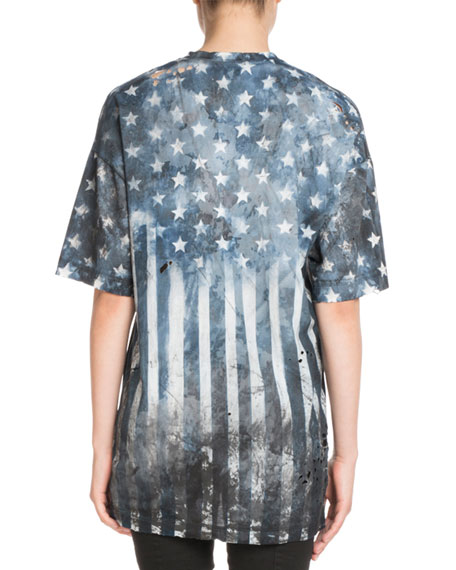 V-Neck Short-Sleeve Printed US-Flag Jersey T-Shirt