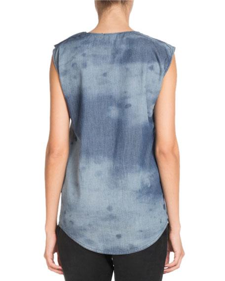 Sleeveless Horse-Print Cotton Tank Top