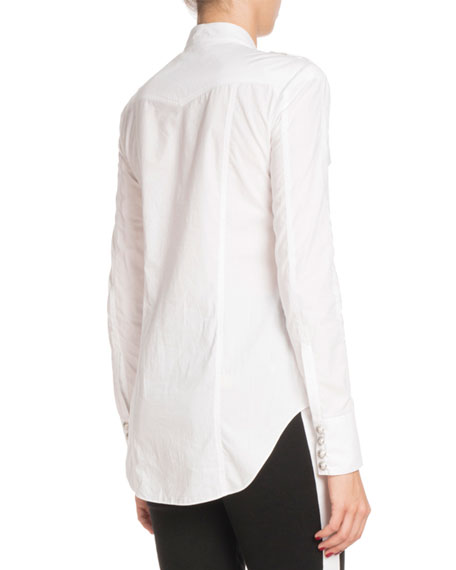 Long-Sleeve Button-Front Cotton Shirt
