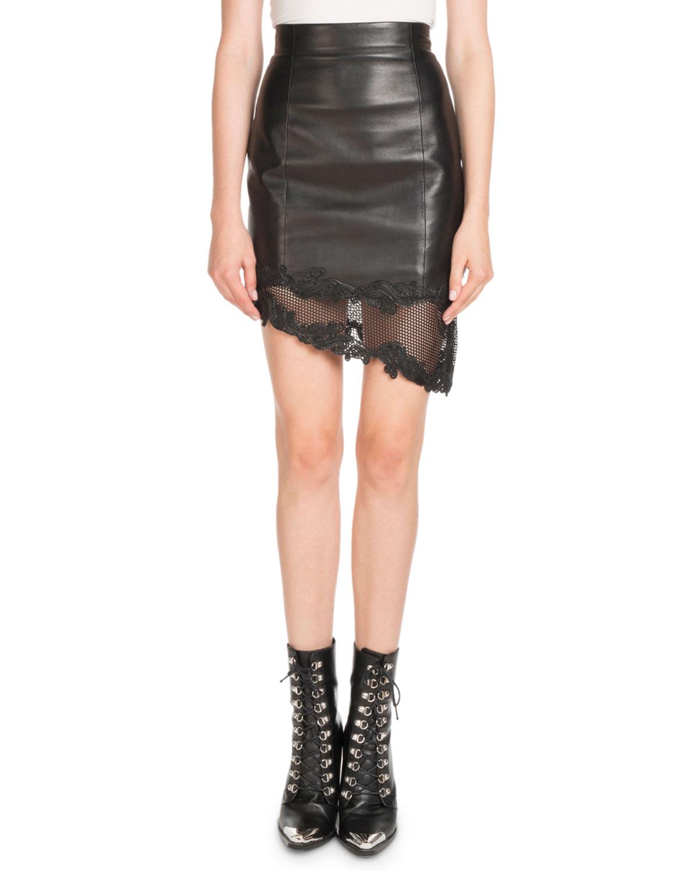 cf8f7fb3b Balmain High-Waist Asymmetric Stretch-Leather Skirt w/ Lace Hem ...