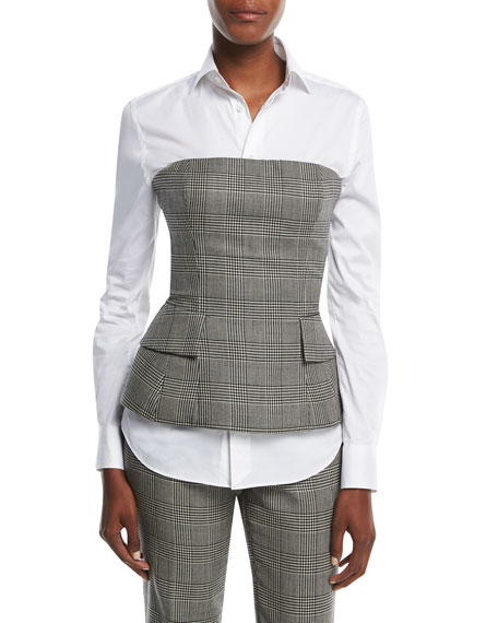 Ralph Lauren Collection Simone Glen Plaid Suiting Bustier